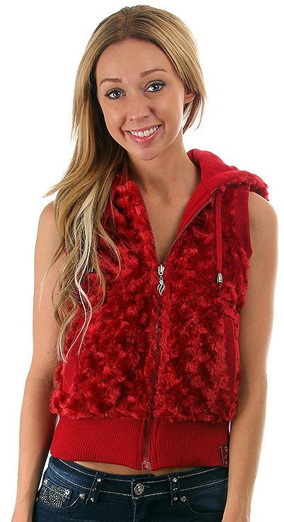 Fun Sexy Hooded Reversible Knit/Faux Fur Vest by Rock Revolution 3 Color Choices #LoveYourLifeRockRevolution