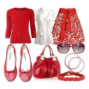 С чем носить красные балетки: белая блузка, красная юбка