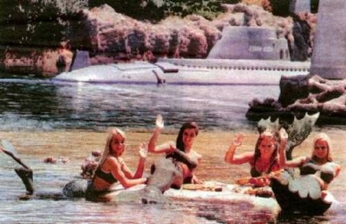 In the years 1965 - 1967, Disneyland employed women dressed as mermaids to inhabit the lagoon for the Submarine Voyage ride. If you were lucky, you could glimpse them swimming through the portholes of the submarine as you were submerged underwater.