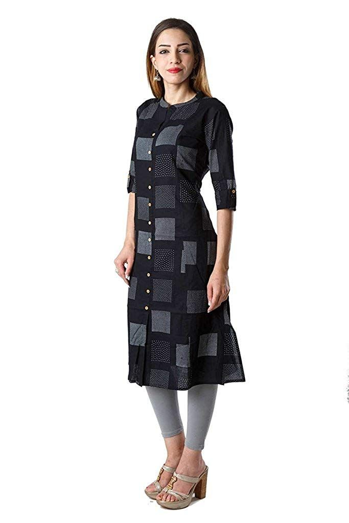 93836ff76a597 AnjuShree Choice Women's Black Cotton Straight Kurti: Amazon.in ...