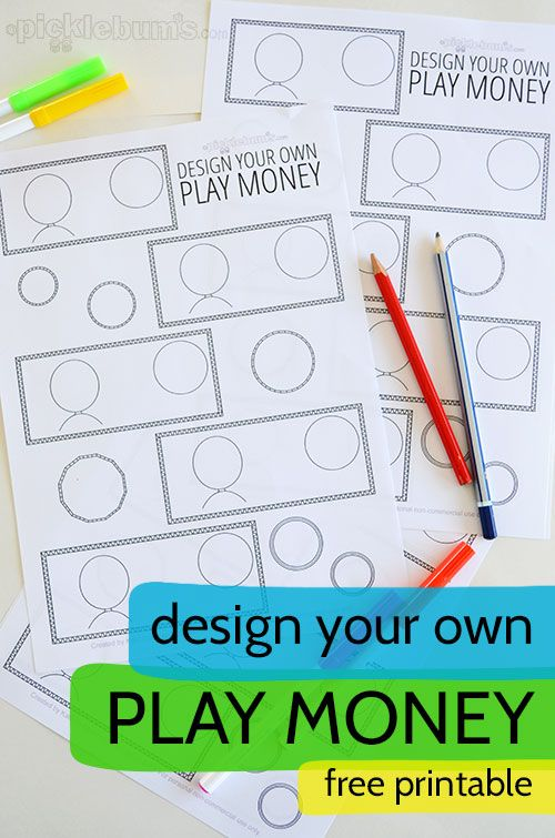 Design your own play money! A fun way to make your own play money and learn about different money too!