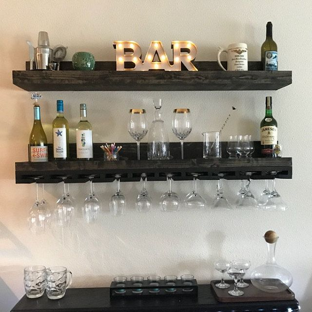 Wood Wine Rack Wall Mounted Shelf Hanging Stemware Glass Holder Organizer Bar Shelf Unique Rustic Bar Shelves In 2020 Wine Rack Wall Hanging Wine Rack Wine Rack Design