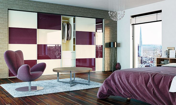 Plum and cream sliding wardrobe doors by BA Components. High gloss slide robe manufactured in the UK.