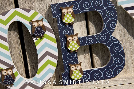 Owl Themed Letters for Baby Boy Nursery - Custom Designed. $12.00, via Etsy.