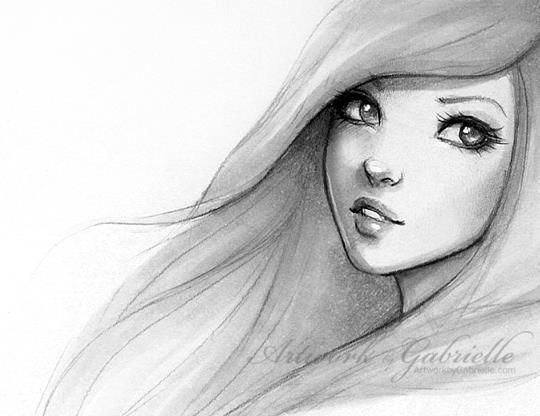Beautiful Girl drawing / Bella ragazza, disegno - Artwork by Gabrielle ★ Find more at http://www.pinterest.com/competing
