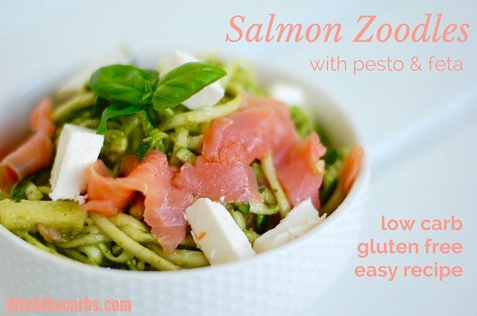 Healthy salmon zoodles with pesto and feta. Clean eating at its best. Low carb and gluten free. | ditchthecarbs.com