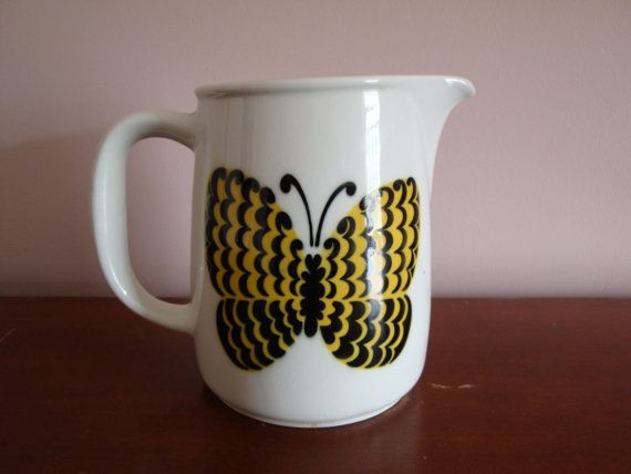Arabia Finland Yellow Butterfly Pitcher