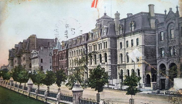 Postcard from Ottawa, featuring buildings across from Parliament on Wellington, between Metcalfe and O'Connor.  The postcard is dated 1907. At the time, I believe this block was still known as Banker's Row.