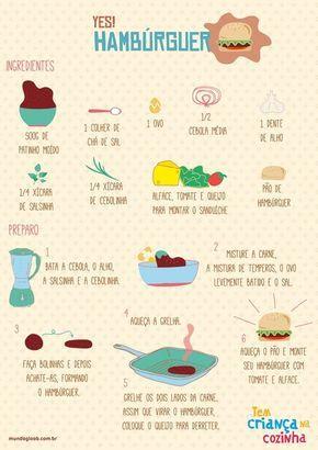 Receita ilustrada de hambúrguer! www.ixigirl.com ❤️