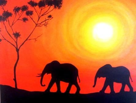 Original Acrylic Painting Silhouette of Elephants by ArtisticJem ... from Etsy ... luv the way the sun is painted making it look like it's glowing  ...