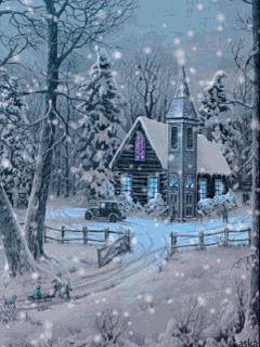 Падающий снег gif анимация - аниме и мультики