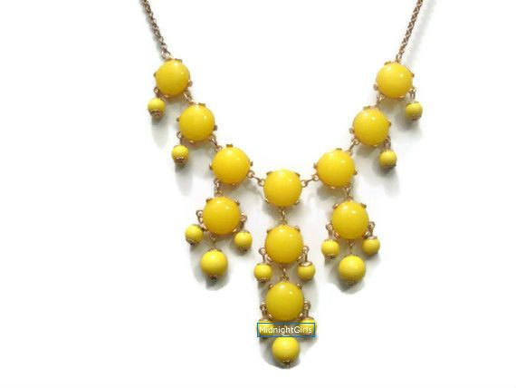 Mini Bubble Necklace Small Bauble Necklace Yellow by MidnightGirls