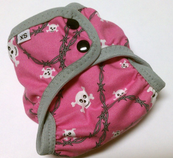 cloth diaper cover - pinky skully