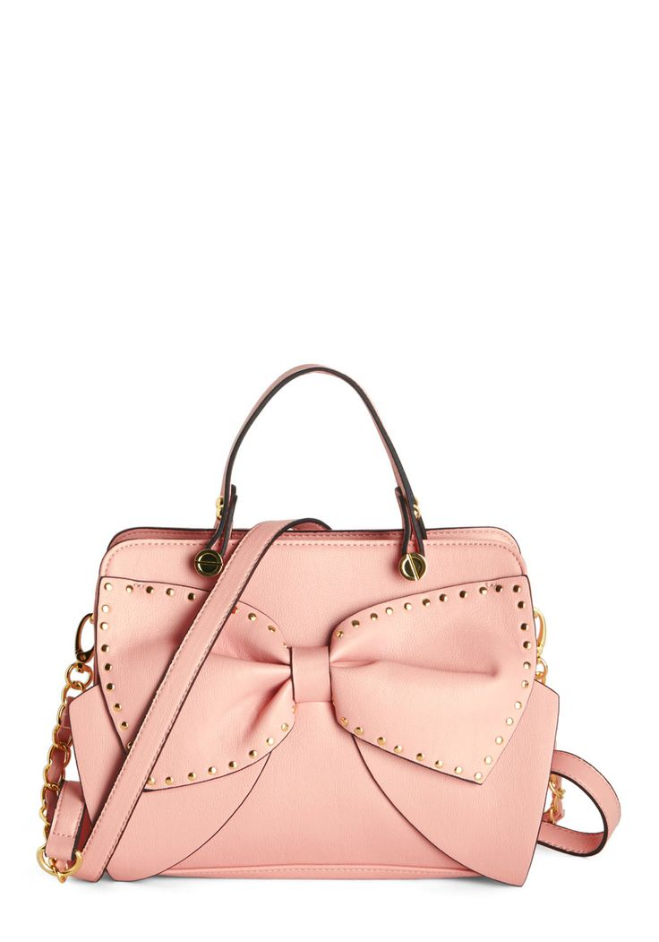 Betsey Johnson Bow All About It Bag. Proudly wear your bow-loving heart on your sleeve by toting this delightfully adorned, pastel-pink purse by Betsey Johnson on your arm. #pink #modcloth