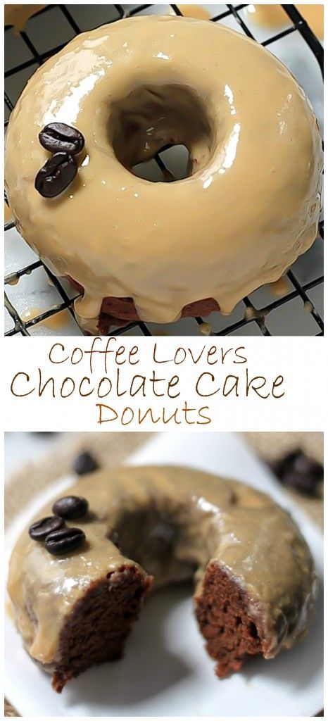 Coffee Lovers Chocolate Cake Donuts - these are perfect for the brunch table! Baked in just 20 minutes!