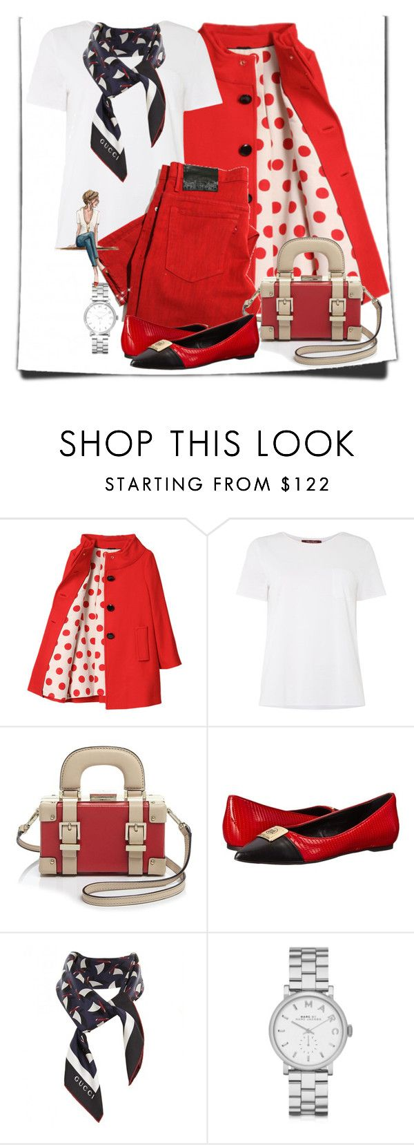 White T-shirt by cavell on Polyvore featuring MaxMara, Kate Spade, Love Moschino, Marc by Marc Jacobs, Gucci, women's clothing, women's fashion, women, female and woman