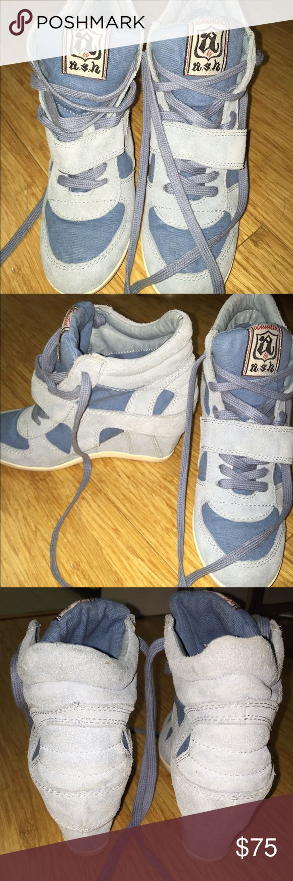 ASH Bowie style WEDGE SNEAKER- size 8 Only worn a few times. In great condition. The most comfortable sneaker wedge. Ash Bowie sneaker wedge in Carolina baby blue. Size 38/ which equals a size 8 in US.  Perfect color for jeans. Wedge heel = 3inchs Ash Shoes Sneakers