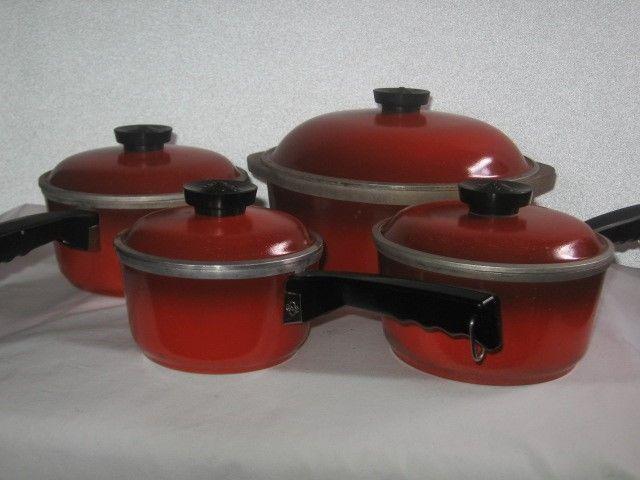 Club Cast AluminumRed Pot Set Red Club Pots 4 Pots With Lids Quart Dutch Oven #ClubCookware