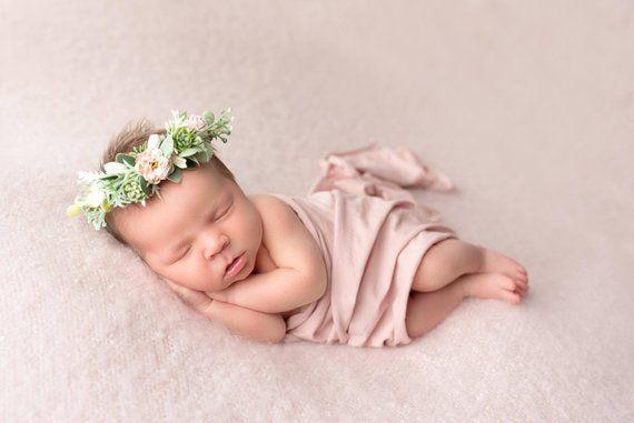 dainty crown baby photo prop baby flower crown floral halo baby crown natural newborn headband Succulent newborn crown