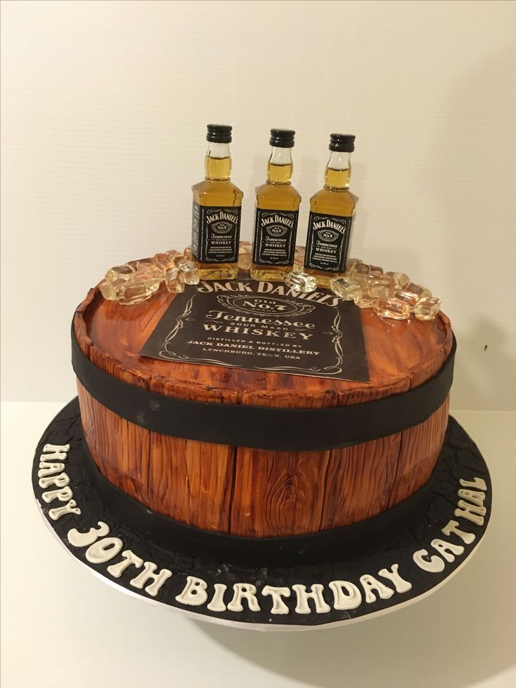 Whisky barrel cake. Men's cake. Vanilla cake with caramel filling.