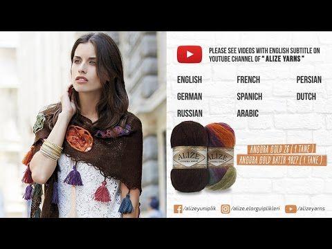 Alize Angora Gold ile delikli şal yapımı - Perforated shawl with Alize Angora Gold - YouTube