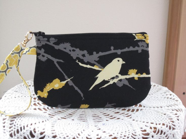 Antiquebasketlady Wedding Clutch Wristlet Zipper Gadget Purse Pouch in Songbirds in Gold  Bridal - pinned by pin4etsy.com