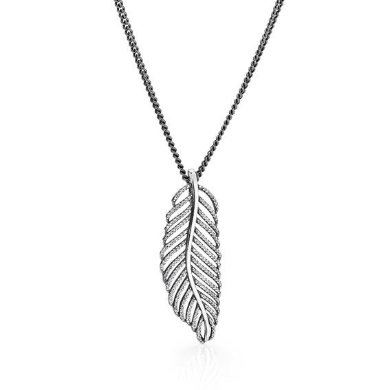 PANDORA oxidised sterling silver necklace chain $165 and sterling silver feather earring pendant with cubic zirconia $139