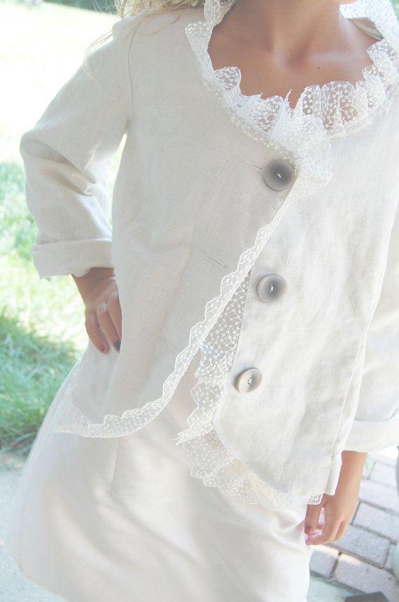 upcycled linen   Upcycled Clothing Linen Jacket Blazer Sale White MEDIUM Of Linen and ...
