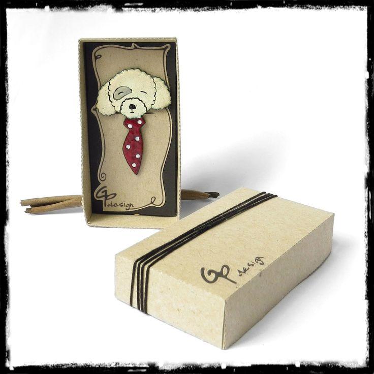 Marque-page cuivre chien caniche cravate à pois en emaux sur cuivre signet cuivre original : Marque-pages par gp-design