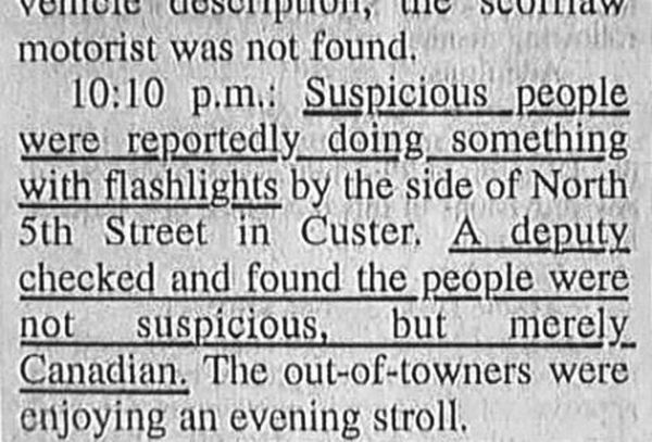 """what?!?  what was the title of this article, """"pesky Canadians out for healthy evening stroll""""?!? hahahaha!  if this is a problem, my entire neighborhood would be ticketed on a daily basis."""