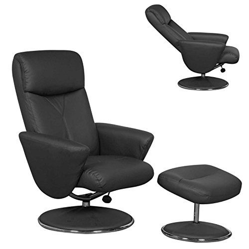The Alizza - Leather Effect Swivel Recliner / Relaxer Chair in Black