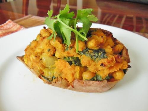 Curry Chickpea Stuffed Sweet Potato | Pasta and Potatoes Comfort Me ...