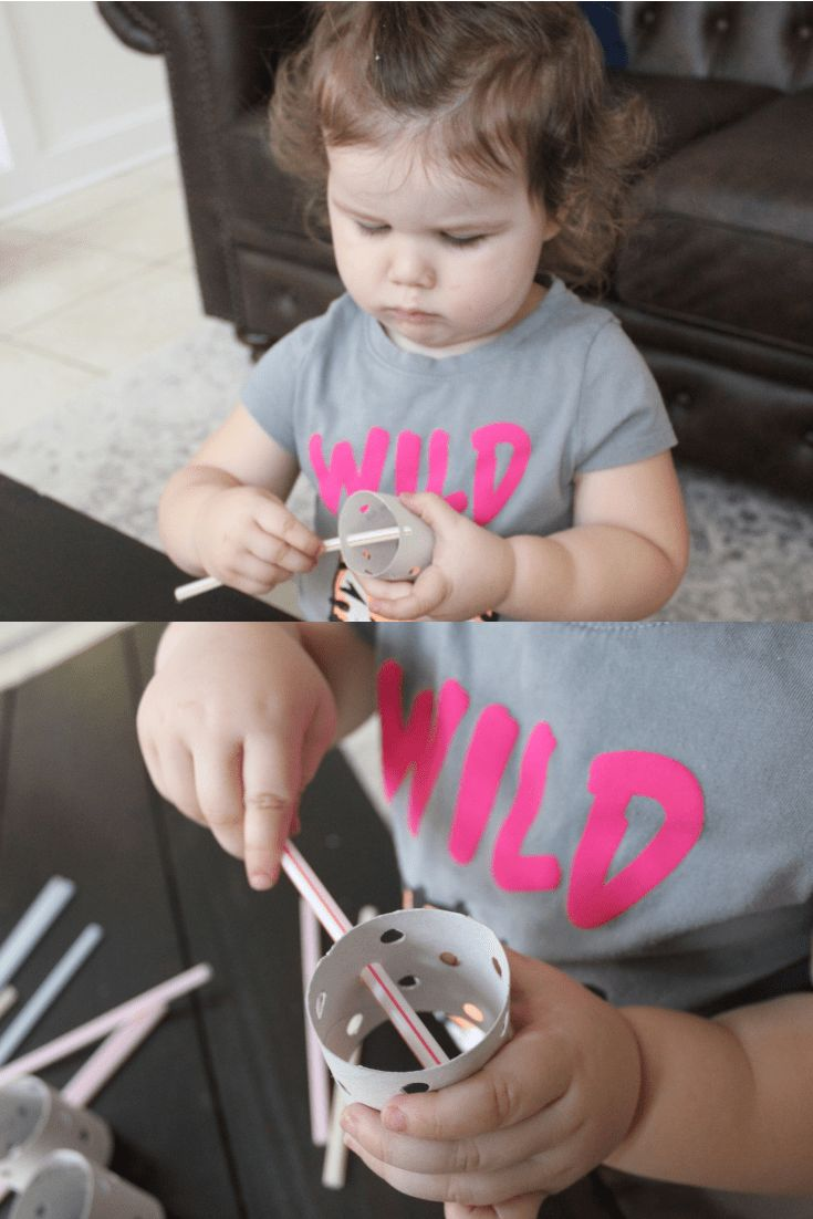 Toddler Activities. This one is so simple to set up. Toilet paper or paper towel roll, hole punch and straws. Great fine motor skill activity for kids…