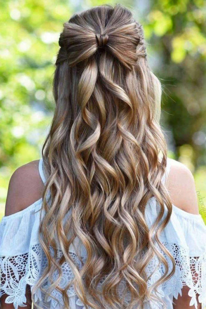 beautiful hairstyles for half-pinned hair, hairstyles for long wavy hair, H - # hairstyles #f ...