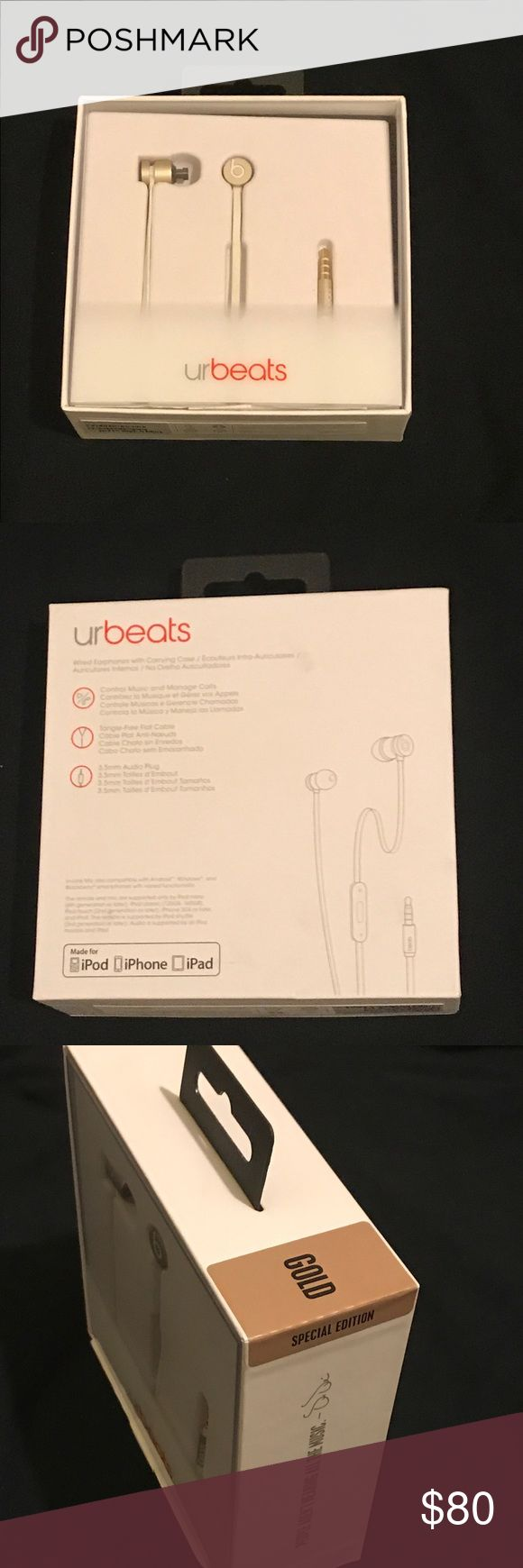 Gold Beats Headphones Urbeats Headphones. Comes with carrying pouch and 3 sets of eartips.Unisex Beats by Dr Dre Other
