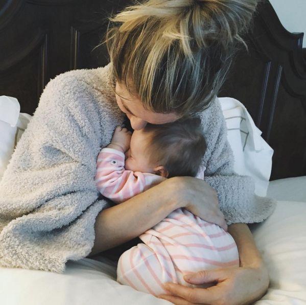 "Kristin Cavallari & Saylor: ""Morning Snuggles"" - http://site.celebritybabyscoop.com/cbs/2016/01/28/cavallari-morning-snuggles #KristinCavallari, #Newborn, #SaylorCutler, #Snuggles"