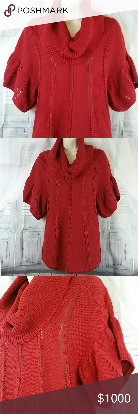 BCBG Ruffled Sweater BCBG Red Ruffled Sweater in EUC, Sweater has short sleeves, Cowl neck, and 2 side pockets. Size Small Women's could possibly fit a medium sized woman as well, but is marked a size small BCBGMaxAzria Sweaters Cowl & Turtlenecks