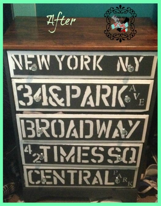 Painted Furniture | Have a city-lover in your life? This hand-me-down dresser was made over with a New York City theme!