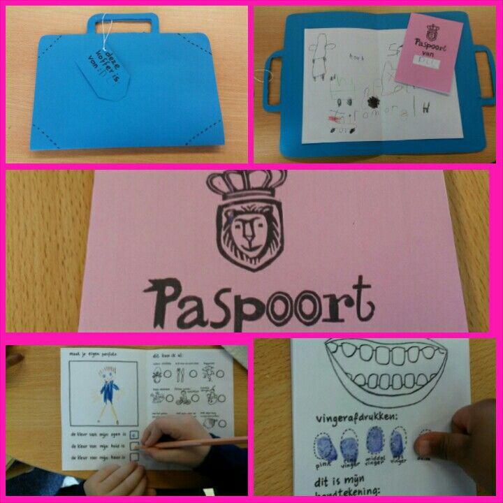 Teken, schrijf of stempel in de koffer wat je mee wilt nemen op reis en maak je paspoort.