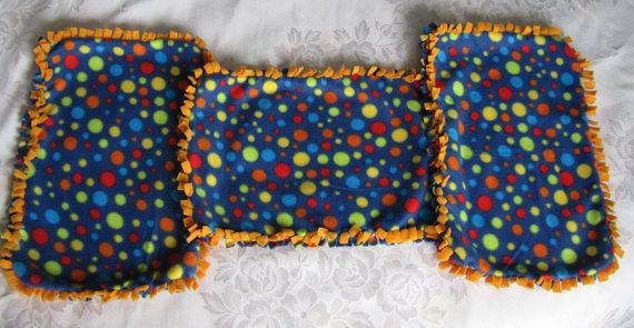 Blue with polka dots fleece tie blankets/toy by BriersBlankets