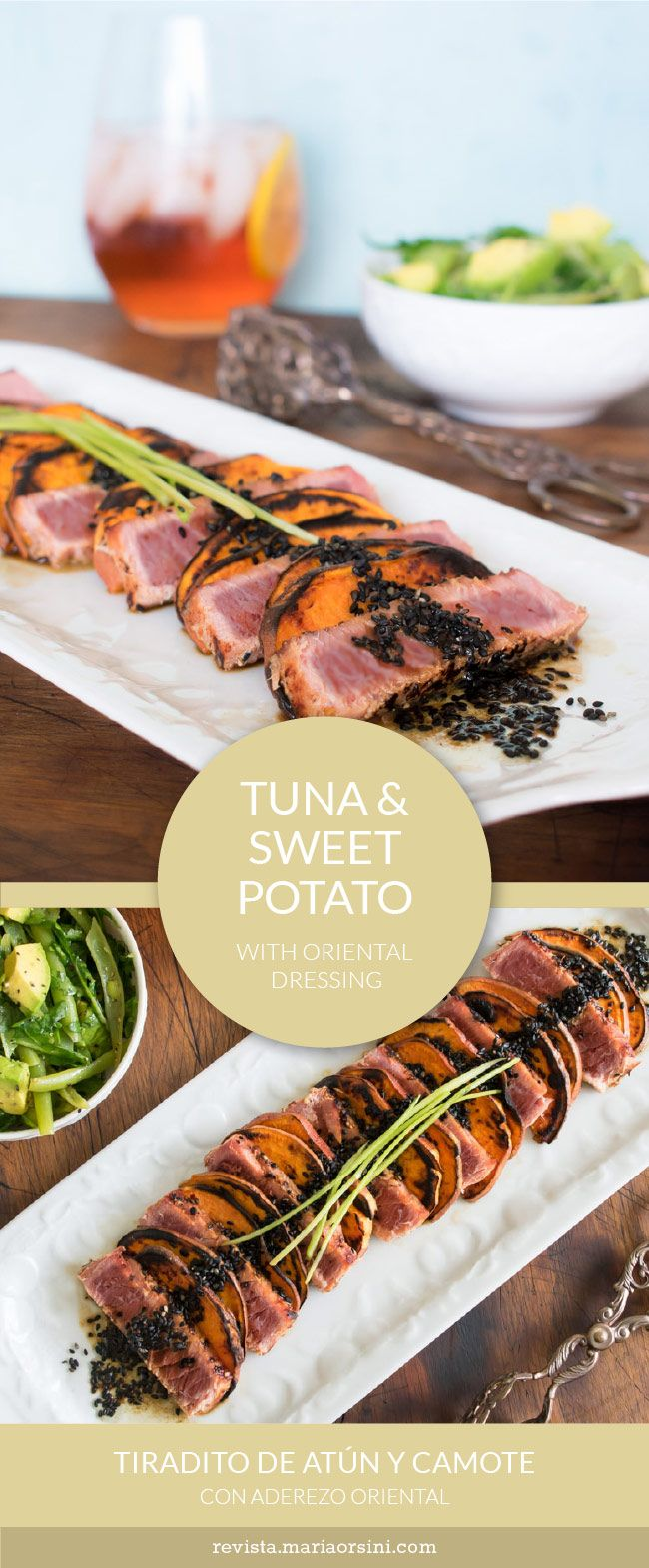 """Sweet potato and seared tuna """"tiradito"""", with oriental dressing. Healthy, quick and delicious!"""