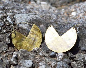 Polka dot textured brass earrings