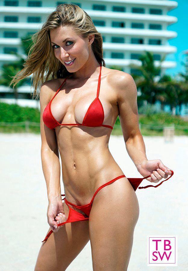 Red Small Scrunch Bikini Kaycie Davis Fitness Enjoy