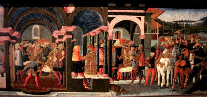 Chateau-Ecouen- Salle des Cassoni.- SCHEGGIA, E.CL. 7506. ENEE ET ANTHENOR: Ils lui font donc croire que la paix sera signée si Hélène est rendue à Ménélas. A la droite de ce panneau, Priam reçoit l'ambassade des Grecs, dont il craint toutefois une trahison: il charge alors son fils Amphimacus, portant un capuchon orange, de veiller discrétement à à sa sécurité avec plusieurs hommes armés et de tuer les Grecs s'ils deviennent menaçants.