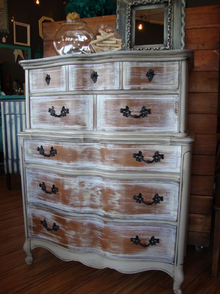 This Chest On Chest French Provincial Dresser Has A White
