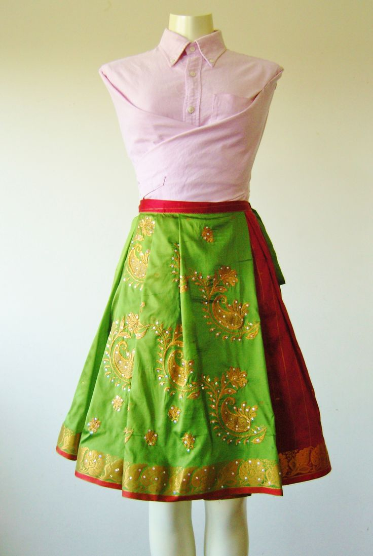 Green Embroidered Wrap Skirt made from a full sari