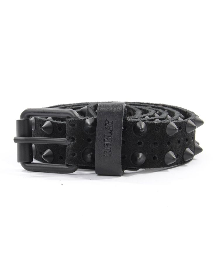 Replay Black Studded Belt | Accent Clothing