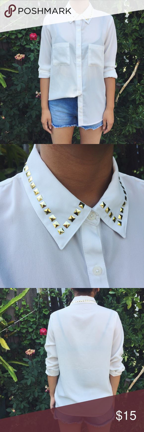 Gold Studded Collar Button Down all around stud collar • two chest pockets • slightly sheer • long sleeve • worn once Forever 21 Tops Button Down Shirts