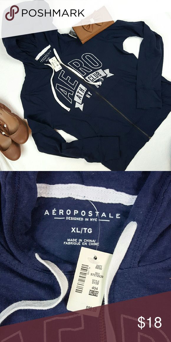 NWT Aeropostale Hooded Zip-Up This navy and white zip-up hoodie is made of a lightweight fabric, similar to a long-sleeved tee shirt rather than a sweatshirt. In brand new condition. Aeropostale Tops Sweatshirts & Hoodies