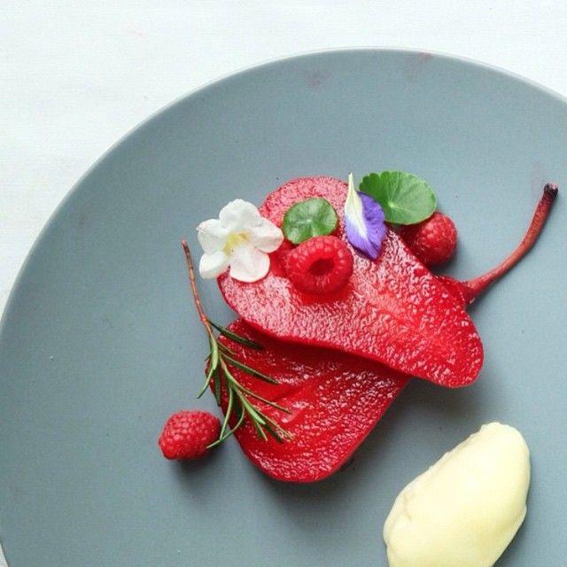 Poached pear, red wine infused rosemary & cinnamon with fresh raspberries & vanilla ice cream. By @sutakonstylist #DessertMasters